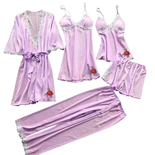 (RAINED-Women Silk Pajamas Set Sexy Lace Lingerie Nightwear Underwear Babydoll Sleepwear Dress 5PC Suit)