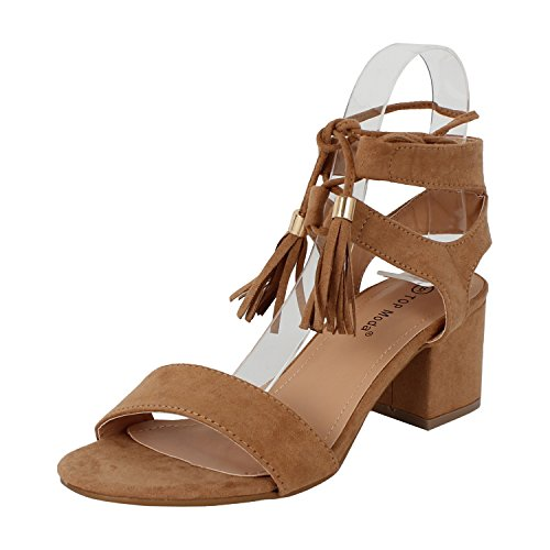 TOP Moda Women's Tassel Stacked Block Heel Gladiator Sandal (7 B(M) US, Tan)