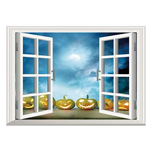 SCOCICI Wall Mural, Window Frame Mural/Halloween,Spooky Halloween Pumpkins on Wood Table Dramatic Night Sky Print Decorative,Dark Blue Light Blue Yellow/Wall Sticker Mural -