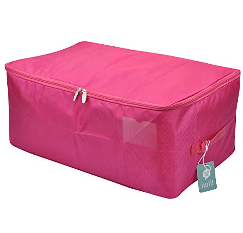 iwill CREATE PRO Travel Organizer Bag, Storage Container for College Dorm-Room, Waterproof and Dustproof, Attractive Colors(Rosy Red, L)
