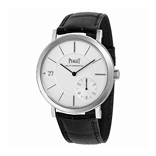 Piaget Altiplano Automatic Silver Dial Black Leather Mens Watch G0A38130