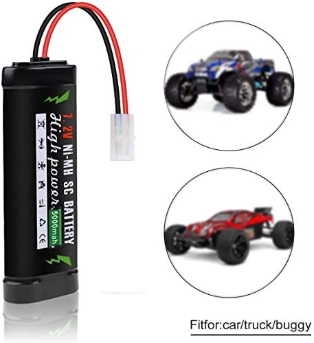 Hootracker 7.2V 5000mAh Ni-MH Battery with KET-2P Connector for RC Car Battery Power Tools Household Appliances