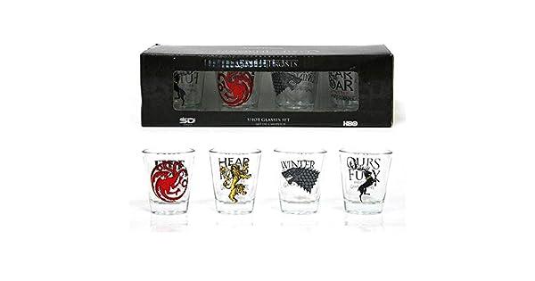 Amazon.com: Conjunto de 4 Game of Thrones vasos de chupito ...
