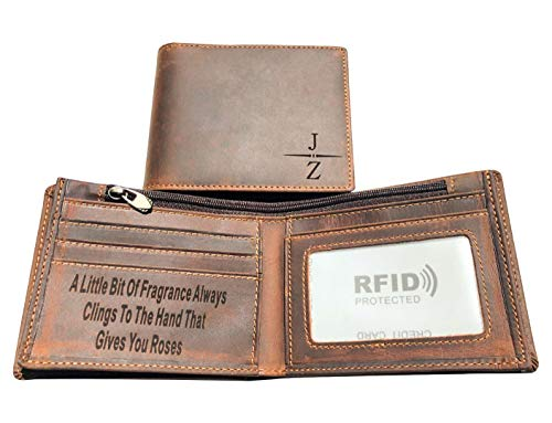 (Personalized Mens Genuine Leather Wallet - RFID Blocking Slim Bifold Customized Wallet With ID Window for Men (Brown, Horizontal(No Custom)))