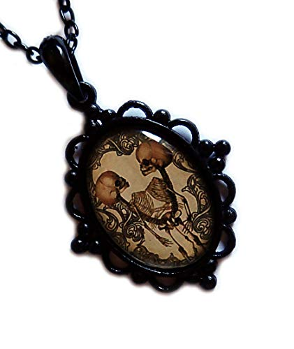 Moon Maiden Jewelry Black Framed Conjoined/Siamese Twin Skeleton Cameo Pendant