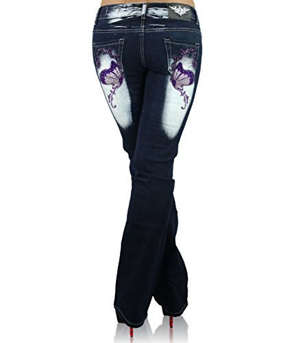 Crazy Mujer CB blue Boot 035 Vaqueros Navy Violet para Cut Pantalones Age rxOYvqpr