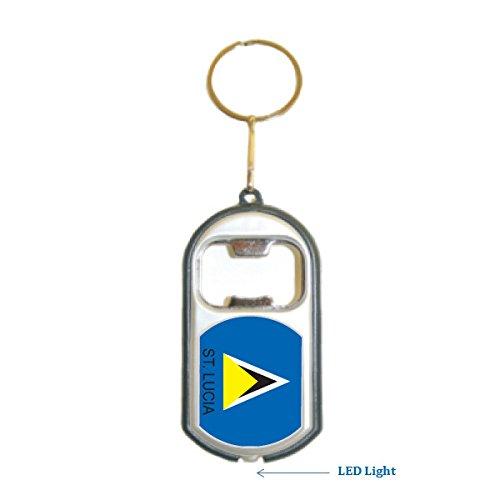St Lucia Flag 3 in 1 Bottle Opener LED Light KeyChain KeyRing Holder (Lucia 1 Light)