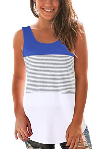 SMALOVY Womens Sleeveless T Shirt Triple Color Block Tank Tops for Summer Bright Blue L
