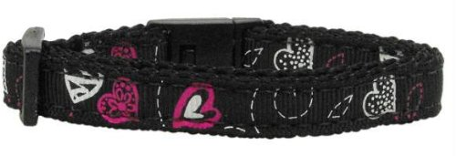Crazy Hearts Nylon Collars Black Cat Safety (24 Pack) [Misc.]