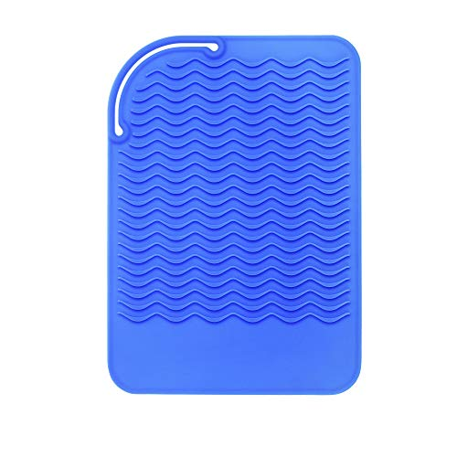 Beautyflier Heat-resistant Silicone Mat for Curling Hair Drier Hair Straightener Flat Iron Travel Heat Proof Mat for Hot Hair Care Tool Blue