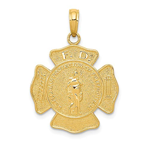 14k Yellow Gold Large Fire Department Badge Pendant Charm Necklace Career Professional Firefighter Fine Jewelry Gifts For Women For Her