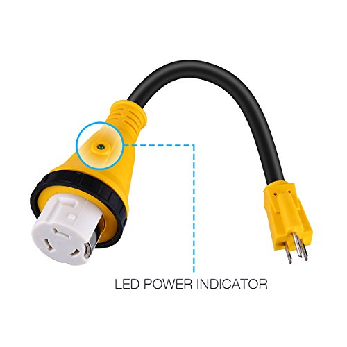 STW 10//3 Cord Miady 15A Male to 50A Female Locking Connector RV Adapter Cord 12 Camper Dogbone Adapter with LED Power Indicator