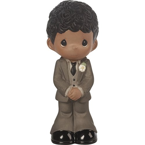 Precious Moments Perfect Couple Groom, Black Hair With Dark Skin Tone Bisque Porcelain Wedding Figurine & Cake Topper, 172068