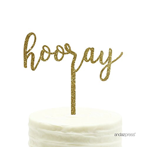 Cake Decor (Andaz Press Party Acrylic Cake Toppers, Gold Glitter, Hooray, 1-Pack, High School College University Graduation Decor Decorations)