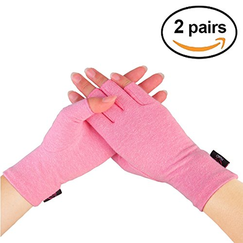 2 Pairs - Compression Arthritis Gloves for Women, Fingerless Design to Relieve Pain from Rheumatoid Arthritis and Osteoarthritis (Pink, Small) by HuaD