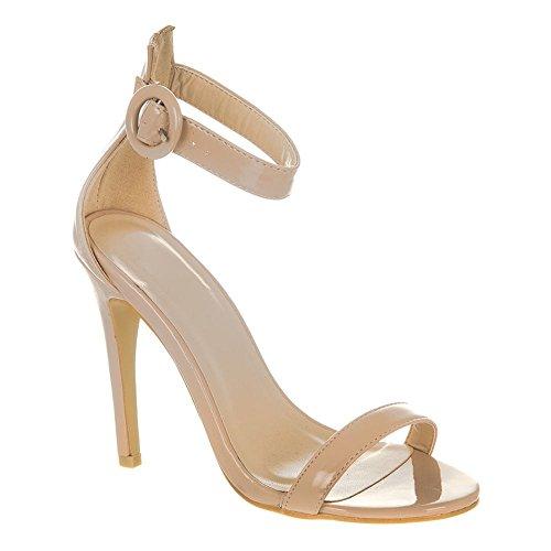 Nude Ouvert High Ankle Talon Belle Sandal Cheville Brevet Strap Toe Nude Heel De Sandale Open À Patent Bout Belle Bride 1SxSq8
