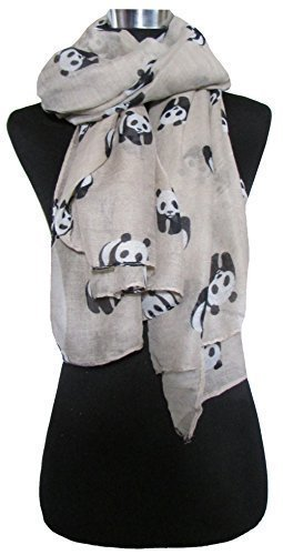 Creamy Beige Scarf with Black & White Giant Panda Print