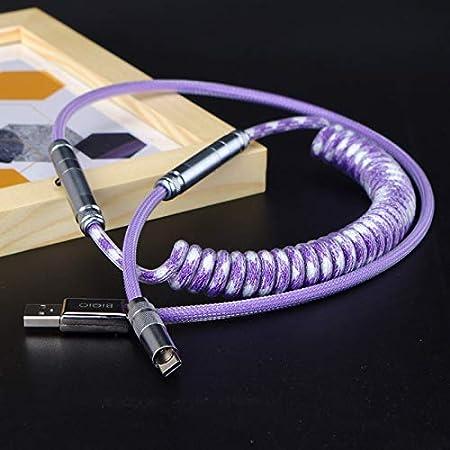 Cable USB Tipo C de Paracord en Espiral Personalizado con Conector XLR para Teclado Mecánico Versión Avanzada de 80cm (Gradiente de Color púrpura)