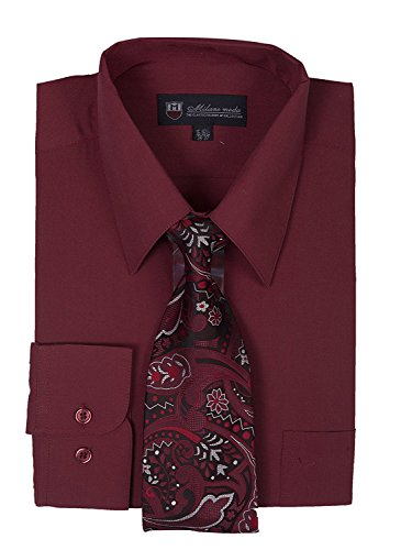 Milano Moda Men's Long Sleeve Dress  With  Tie And Handkie SG21A-Burgundy-18-18 - Milano Red Dress