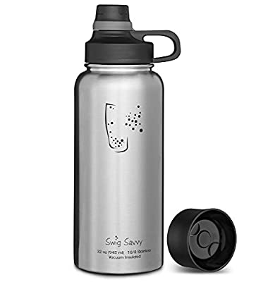 Swig Savvy Bottles 30oz / 40oz Stainless Steel Insulated Water Bottle Wide Mouth BPA Free with Interchangeable Caps Leak-proof Sports cap Great for Gym & Coffee Lid Great for Travel Coffee Mug