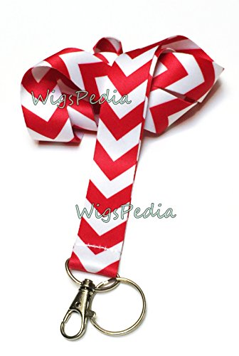 WigsPedia Chevron Neck LANYARDs Keychain for Key / ID Holder (Navy Dark Blue / White Chevron) … (Red / White Chevron)