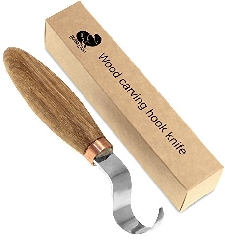 BeaverCraft, Wood carving hook knife for carving spoons bowls kuksa and cups - right handed spoon carving tools - basic crooked knife for professional spoon carvers and beginners