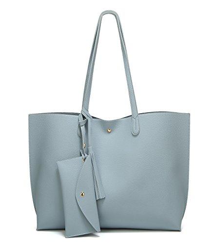 41e028e2c9137 SIFINI Women Tassels PU Leather Bag Simple Style Shopping Handbag Shoulder  Tote Bag (light blue