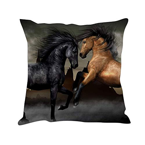 Tom Boy Horse Throw Pillow Covers Decorative Linen Square Animal Cushion Pillow Cases for Couch Sofa,18
