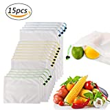 Reusable Produce Bags,Aiguozer Set of 15 See-Through Washable Mesh Bags,Eco Friendly Grocery Bags for Vegetables Fruits,Children's Toys & Garden Produce Storage