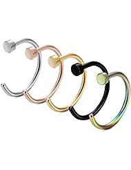 FIBO STEEL 20G 2-5PCS Stainless Steel Body Jewelry Piercing Nose Ring Hoop