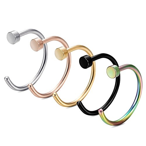 Ring Nose - FIBO STEEL 20G Stainless Steel Body Jewelry Piercing Nose Ring Hoop 5PCS