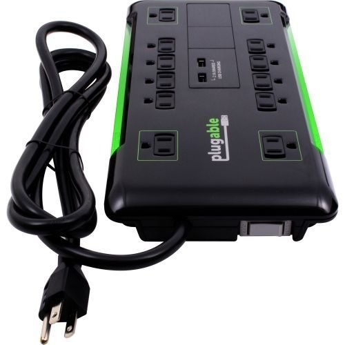 Plugable Surge Protector Power Strip with USB and 12 AC Outlets, Built-in 10.5W 2-Port USB Charger for Android, Apple iOS, and Windows Mobile Devices, 6 Foot Extension Cord