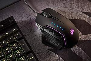 16000 DPI Optical Sensor, Interchangable Thumbgrips, 3-Zone RGB Multi-Colour Backlighting, On-Board Storage, Xbox One Compatible Black Corsair Glaive RGB Optical Gaming Mouse