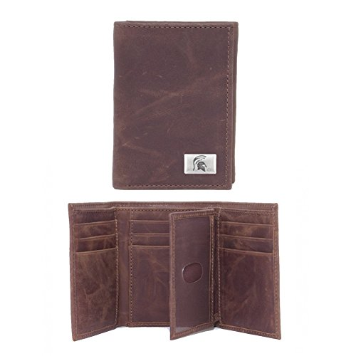 Eagles Wings NCAA Michigan State Spartans Men's Tri Fold Wallet, One Size, Brown