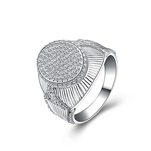 AmDxD Jewelry Silver Plated Men Customizable Rings Full of CZ Round Bottle Cap Size 13