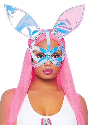 (Leg Avenue Women's Holographic Vinyl Bunny Ear ma, Holo, O/S)