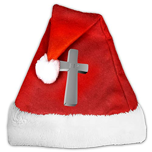 Santa Hat,Unisex Cross Rip Dead Funeral Halloween Mort Christmas Hat with Comfort Lining&Plush Brim