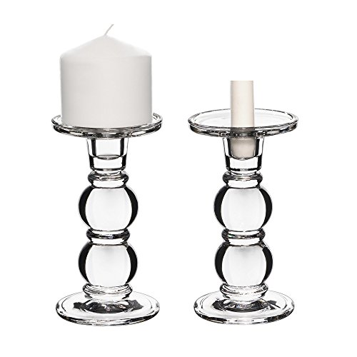 Glass Candlestick Candle Holder - CYS EXCEL Clear Glass Pillar Candle Holder - Taper Candle Stand - Dual Use for Pillar or Taper Candlesticks Pack of 2 PCS (D3.5 H7.5)