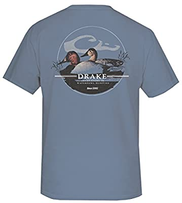 Drake Waterfowl Men's Canvas Back Oval Short Sleeve Tee, Blue Jean