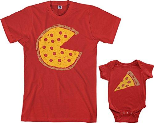 Threadrock Pizza Pie & Slice Infant Bodysuit & Men's T-Shirt Matching Set (Baby: 12M, Red Men's: L, -