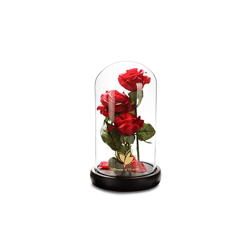 silk flower arrangements beauty and the beast rose, magic rose handmade to create the perfect silk rose and glass flower rose long lasting flowers valentine's mother's day birthday present christmas forever gifts