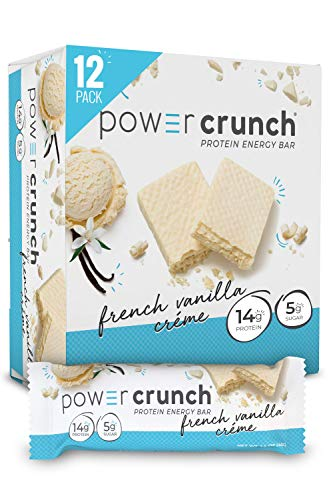 Power Crunch Whey Protein Bars, High Protein Snacks with Delicious Taste, French Vanilla Creme, 1.4 Ounce (12 Count)