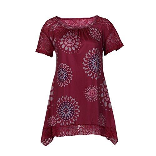 MEEYA Summer Women Tops Short Sleeve Round Neck Lace Summer Short Sleeve Gridding Lace Floral Print Shirt Blouse (Lycra Jewel Neck Short)