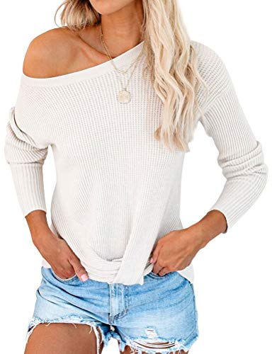 MYMORE Women Solid Color Crew Neck Knitted Shirt Long Sleeve Loose Fit Blouse Tops Beige
