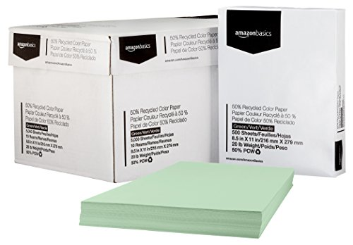 AmazonBasics 50% Recycled Color Paper - Green, 8.5 x 11 Inches, 20 lbs, 10 Ream Case (5,000 Sheets)