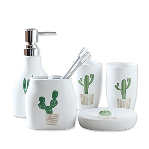 5 Piece Ceramic Bath Accessory Set Includes Bathroom Designer Soap or Lotion Dispenser,Toothbrush Holder,Tumbler,Soap Dish,Wedding,Housewarmung Gift (5 Pieces, Green Cactus) from Popular Bathroom Accessory Set