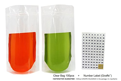 Stand up Zipper Clear Pouch Bag 100pcs Translucent Reclosable Resealable Plastic Ziplock Food and Drink Bag Pet Lld