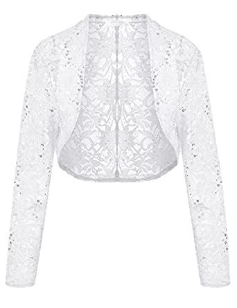 Meaneor Lace Sweater, Womens Long Sleeves Lace Crochet Bolero Crop ...