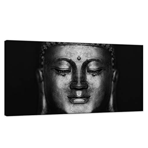 (Wall Art for Bedroom Canvas Wall Art Black Abstract Buddha Wall Art Head Paintings Pictures Artwork Framed for Decor/Home Decoration Size:24x48inch)