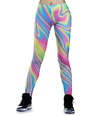 JewelryWe Women's Legging Ultra Soft Irregular Rainbow Printed Comfy Pants Elastic High Waist Tights Sports Pants